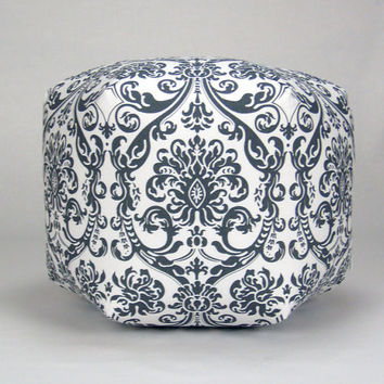 Pouf Ottoman Pillow in Gray and White Damask Premier Abigail