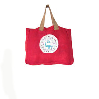 "Dark Pink Embroidered ""Be Happy"" Jute Tote Bag-Burlap Beach Bag-Burlap Grocery Bag-Embroidered Floral Bag"