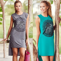 Women Elephant Print Sundress Sleeveless Casual Dress