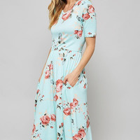 Summer Floral Midi Dress - Mint