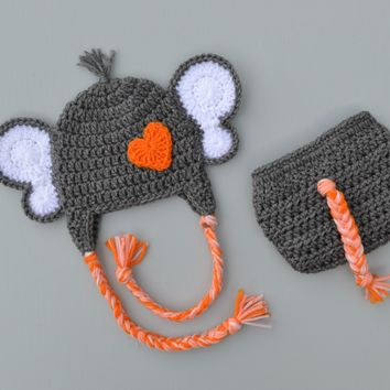 Crochet Baby Elephant Costume Newborn Gray Elephant Photo Prop Outfit