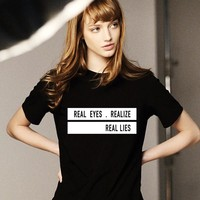 REAL EYES REALIZE REAL LIES Summer  Casual Black