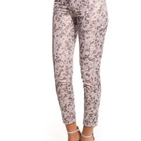 White floral print leggings