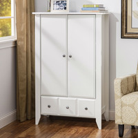 Bedroom Living Room Storage Cabinet Wardrobe Armoire in Soft White - Made in USA