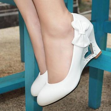 Plus Size 35-43 Fashion Wedges Women Wedding Shoes Sweet Heart Princess Bow Women Pumps 4 Colors Casual Wedge Women Shoes