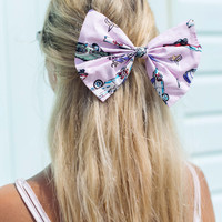 Pink Retro 1950s Car Print Rockabilly Pin Up hair bow clip - IN 3 SIZES