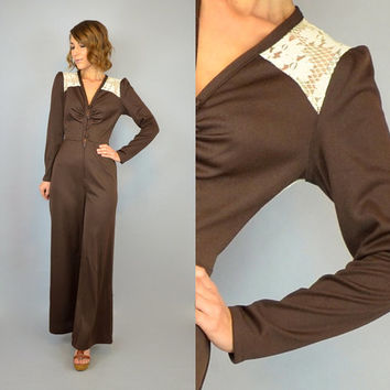 vtg 70s DISCO bohemian hippy Floral Lace POLYESTER bell bottom flared JUMPSUIT, extra small-small