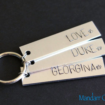 Pet Name Keychain, Three Hand Stamped Aluminum Tags, Paw Print Stamp, Key Chains for Pet Owners