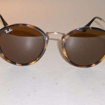 RAY BAN RB2447 1160 49 21 MULTI CLR TORTOISE B15 BROWN ROUND AVIATOR SUNGLASSES