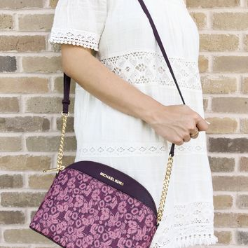 Michael Kors Emmy Small Cindy Dome Crossbody Damson Multi Purple Floral