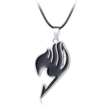 HSIC Cosplay Accessories Fairy Tail 4 Color Cosplay Anime Alloy Leather Rope Necklace Charm Pendant Gift Hot Movie Jewelry