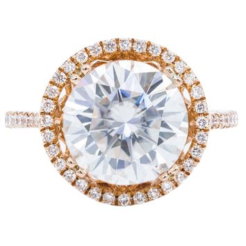 10mm Round Moissanite 14K Rose Gold 4 Double Prongs Diamond Halo and Shank Ring