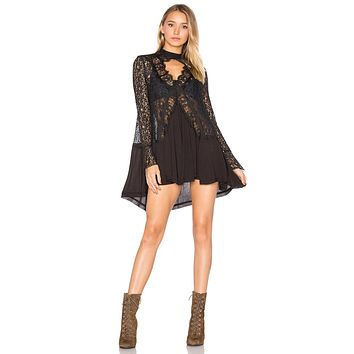 Free People New Tell Tale Lace Tunic Black