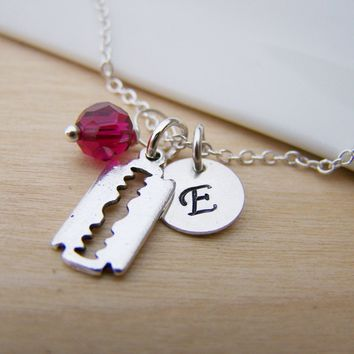 Razor Blade Charm Swarovski Birthstone Initial Personalized Sterling Silver Necklace / Gift for Her