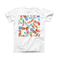 The Vibrant Colorful Brushed Feathers ink-Fuzed Front Spot Graphic Unisex Soft-Fitted Tee Shirt
