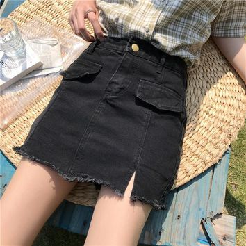 Harajuku Women Denim Skirt Preppy Style Skirts Mini Cute School Uniforms Saia Faldas Ladies Jupe Kawaii Skirt SK6293