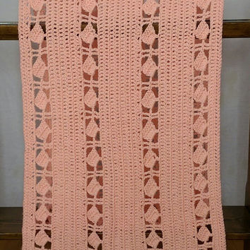 "Crochet Wrap, Crocheted Shawl, Scarf, Stole in Melon 19"" X 65"" Handmade Crochet Peach"