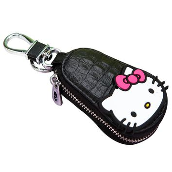 PU Leather Car Key Chains Wallets Woman Girl Key Holder Hello Kitty Model Keychain Covers Zipper Key ring Bag Pouch Purse Gift