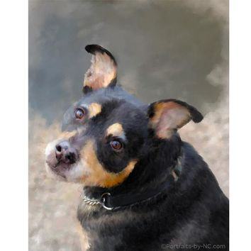 Custom Painted Dog Pet Digital Portrait