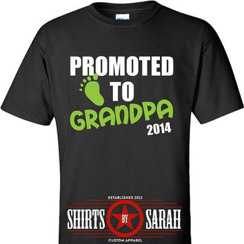 Promoted To Grandpa Shirt - New Baby Expecting Papa Grandpas Grandparents Custom Cute Footprint
