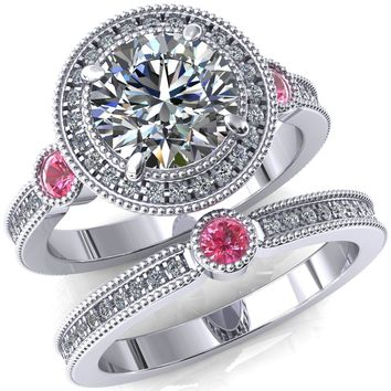 Brachium Round Moissanite Pink Sapphire Bezel Milgrain Halo 3/4 Eternity Accent Diamond Ring