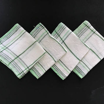 Vintage Cotton Gauze Napkins Luncheon Napkins Green and White Small Square Coth Napkins Eco Friendly Set of 4 Green Stripes