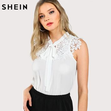 SHEIN Guipure Lace Applique Tied Neck Top Women Tops and Blouses 2017 White Band Collar Sleeveless Sexy Blouse