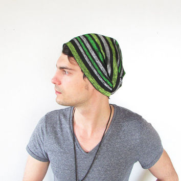 Mens Slouchy Beanie Hat Green Gray Black Winter Hair Accessory hipster