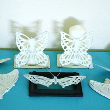 Beautiful Ivory chic vintage upcycled and revamped butterfly collection