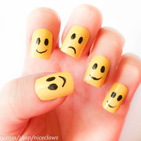 Rihanna Inspired Happy Face Fake Nails