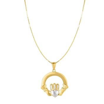 """14k Gold Yellow And White Claddagh Pendant Necklace, 18"""""""