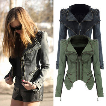 Clover Army Green/Grey Jeans Jackets