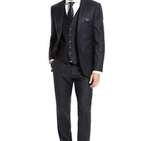 Modern Fit Virgin Wool Pinstripe 'Howard/Court' Three-Piece Suit by BOSS Selection