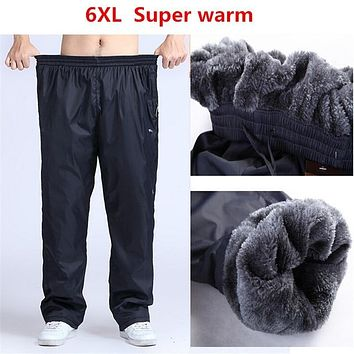 4XL 5XL 6XL men winter waterproof pants sweatpants trousers with Zipper Pockets baggy Fleece super warm pants sportswear for men