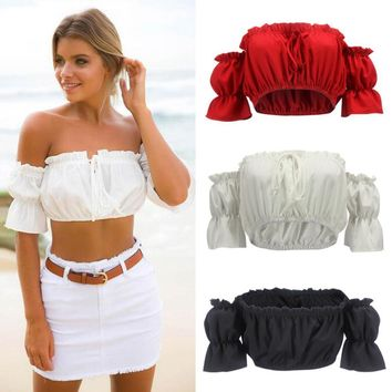 Women Off-shoulder Tank Top Bandage Casual Blouses Crop Tops Shirt Summer Sexy Fashion Hot Folk-Custom Personality beach shirt