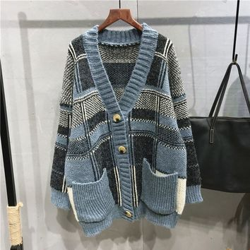 Johnature Women Knitted Cardigan Vintage Sweaters Pockets 2018 Autumn Winter New V-Neck Long Sleeve Patchwork Loose Coat Sweater