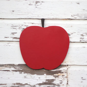 Large red apple wood sign Nursery wall art Modern by MyrtleBrown
