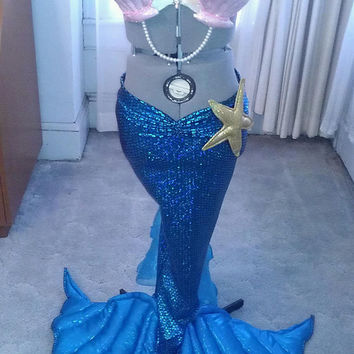 women's mermaid fantasy costume shell bra and tail skirt custom size.