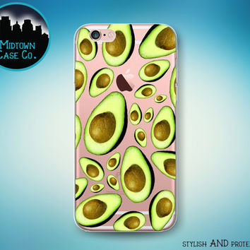 Avocado Pattern Guacamole Transparent Clear Rubber Case for iPhone 7 Plus iPhone 7 iPhone 6s 6 Plus iPhone 6s 6 iPhone 5s 5 5c iPhone SE