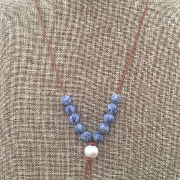 Long Leather and Pearl Blue Stone Necklace Natural Tan Leather Freshwater Pearl