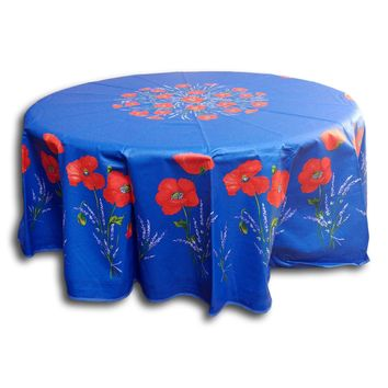 """French Provencal Tablecloth Acrylic Coated Cotton Poppy Blue 71"""" Round"""