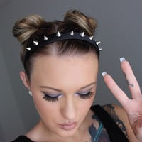 Spiked Headband, Black Spiked Headband, Silver Spike, Pastel Goth, Hair Accessory