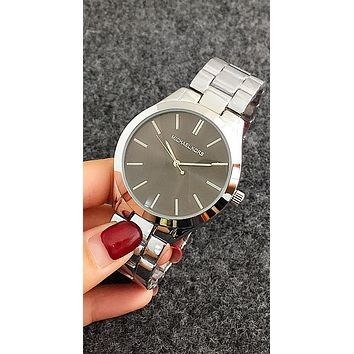 MK Michael Kors Fashion Unisex Simple Movement Watch Wristwatch(7-Color) Silver Belt Black Dial N-Fushida-8899