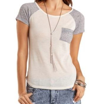 Slub Knit Pocket Baseball Tee by Charlotte Russe