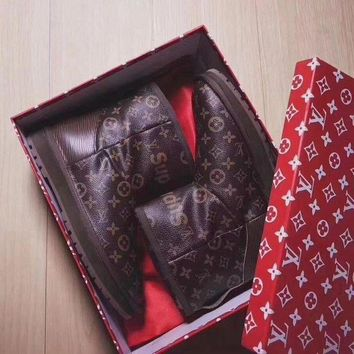 ICIKID4 UGG x Louis Vuitton x Supreme Leather Snow Ankle Boots - High-end limited edition