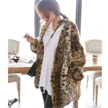 Boyfriend V neck Hairy Shaggy Leopard Faux Mink Fur Jackets Winter Woman Raglan Lantern Sleeve Loose Faux Fur Coat Outerwear