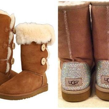 ICIK8X2 Swarovski Crystal Embellished Bling Bailey Button Tall Uggs - Christmas / Holiday Blin