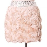 Pink Mini Skirt - Decor Roses Bud Skirt | UsTrendy