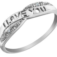 I Love You Diamond Promise Ring in 10K White Gold