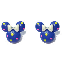 """Handmade """"Confetti Minnie"""" Bright Blue Minnie Mouse Earrings with Pink and Yellow Dots and White Bow"""